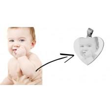 Oceľový prívesok sgravírovaným obrázkom - srdce