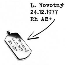 Oceľový prívesok - vojenská známka