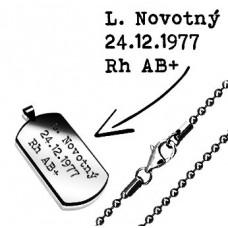 Oceľový prívesok - vojenská známka sguličkovou retiazkou